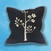 Flower Plant Cushion - Black